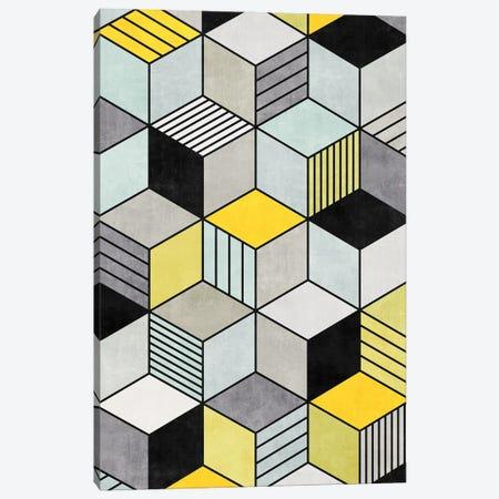 Colorful Concrete Cubes 2 - Yellow, Blue, Grey Canvas Print #ZRA8} by Zoltan Ratko Canvas Art Print