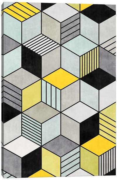 Colorful Concrete Cubes 2 - Yellow, Blue, Grey Canvas Art Print