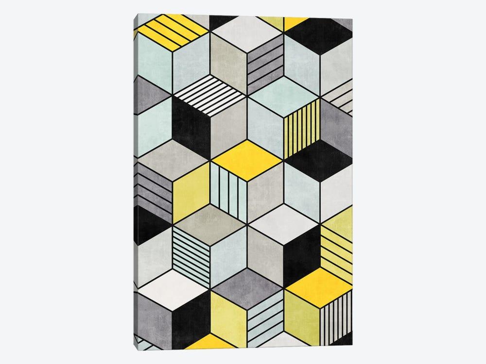 Colorful Concrete Cubes 2 - Yellow, Blue, Grey by Zoltan Ratko 1-piece Canvas Art Print