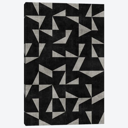Mid-Century Modern Pattern No.12 - Black and Grey Concrete Canvas Print #ZRA90} by Zoltan Ratko Canvas Wall Art
