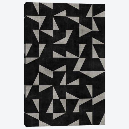 Mid-Century Modern Pattern No.12 - Black and Grey Concrete Canvas Print #ZRA90} by Zoltan Ratko Canvas Wall Art