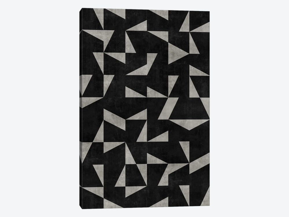 Mid-Century Modern Pattern No.12 - Black and Grey Concrete by Zoltan Ratko 1-piece Canvas Artwork
