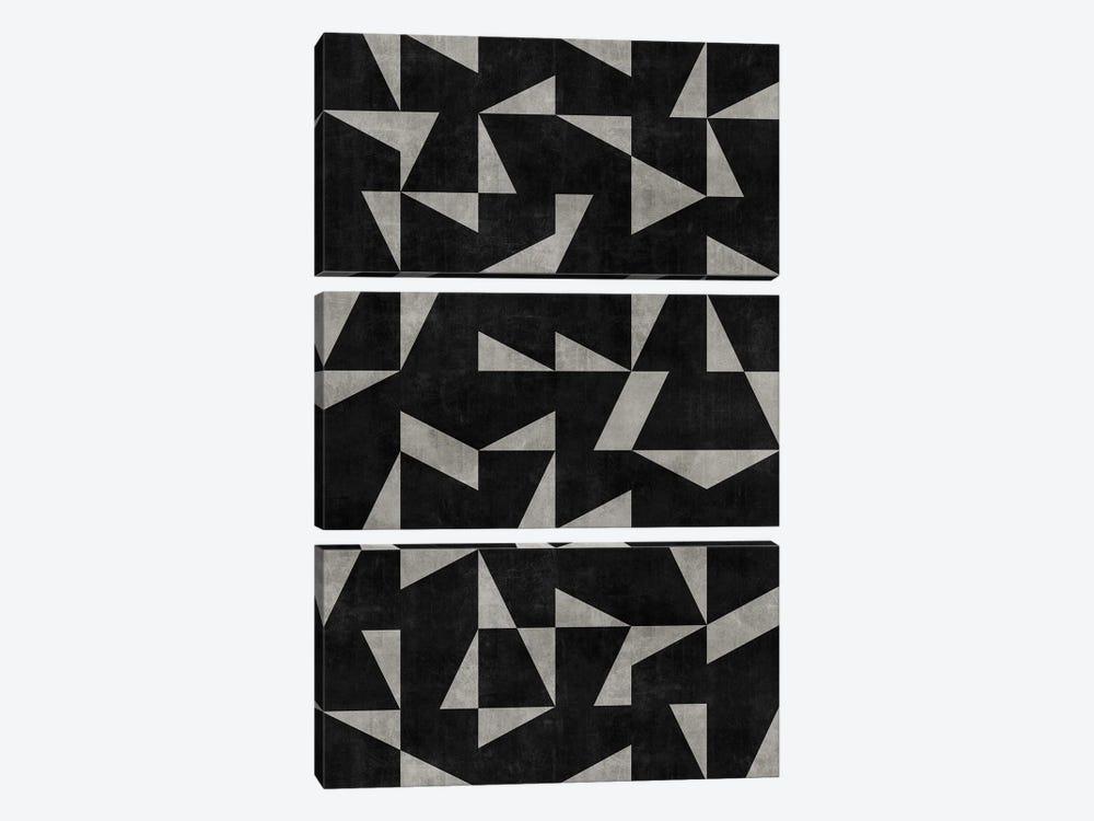 Mid-Century Modern Pattern No.12 - Black and Grey Concrete by Zoltan Ratko 3-piece Canvas Art