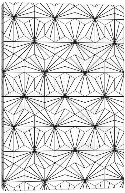 Hexagonal Pattern - White Concrete Canvas Art Print