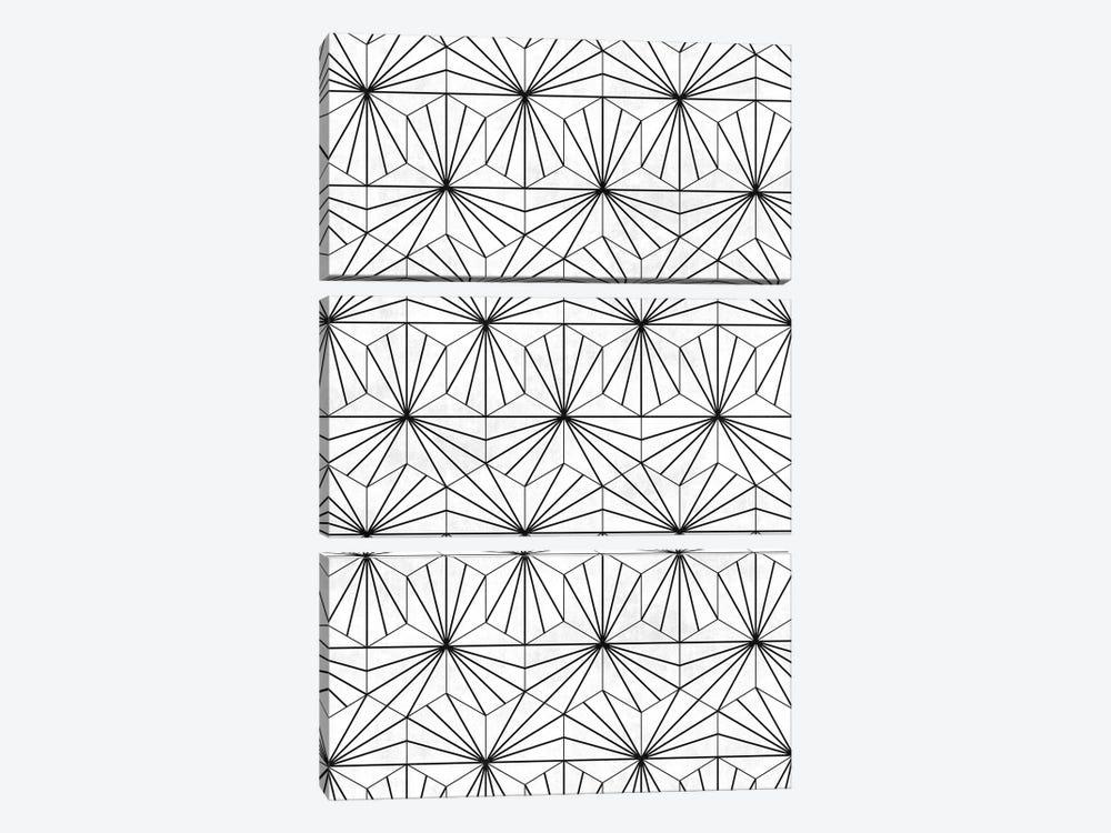 Hexagonal Pattern - White Concrete by Zoltan Ratko 3-piece Art Print