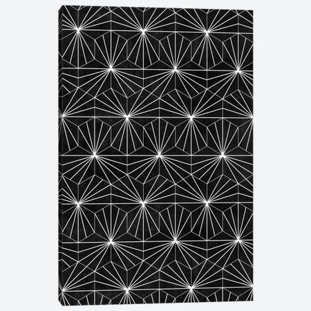 Hexagonal Pattern - Black Concrete Canvas Print #ZRA92} by Zoltan Ratko Canvas Artwork