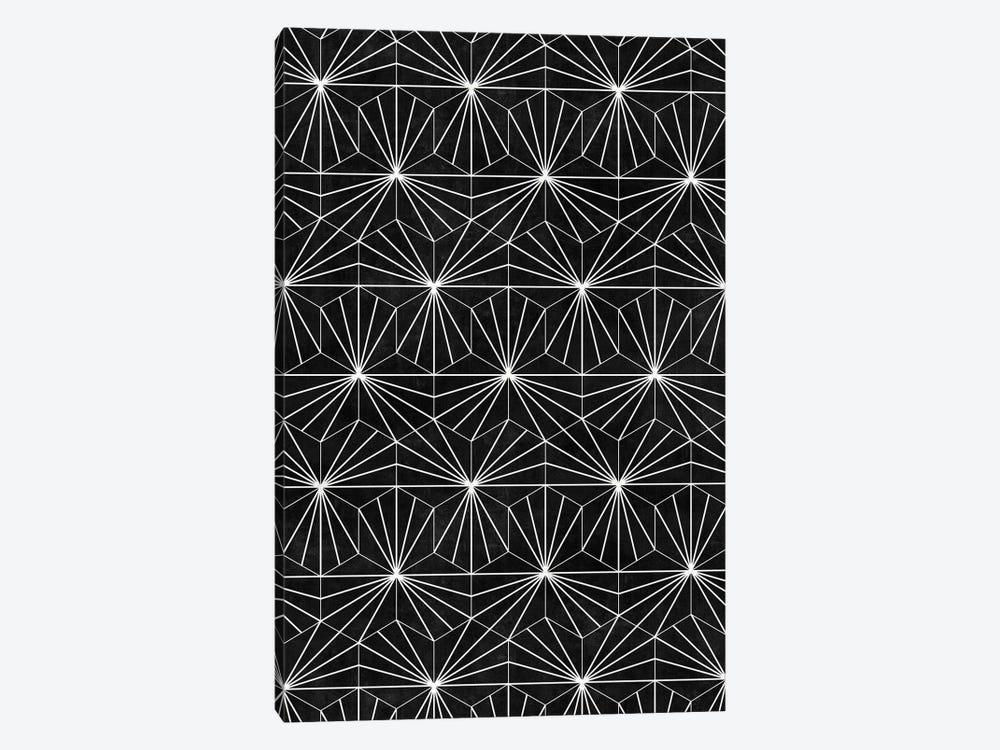 Hexagonal Pattern - Black Concrete by Zoltan Ratko 1-piece Canvas Artwork
