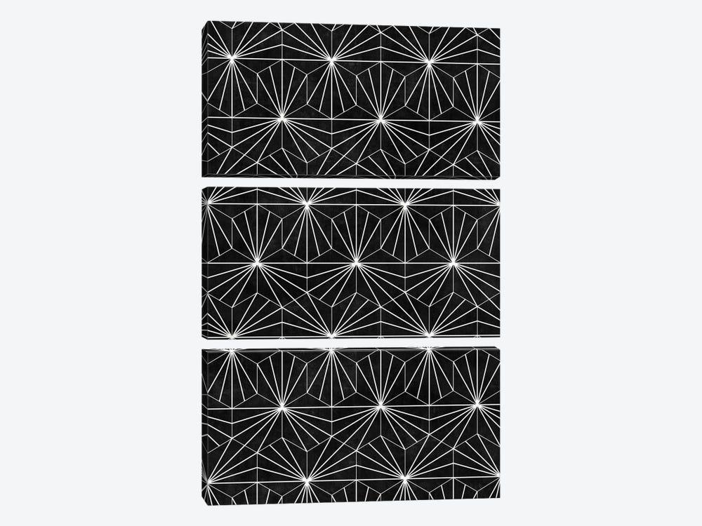 Hexagonal Pattern - Black Concrete by Zoltan Ratko 3-piece Canvas Artwork