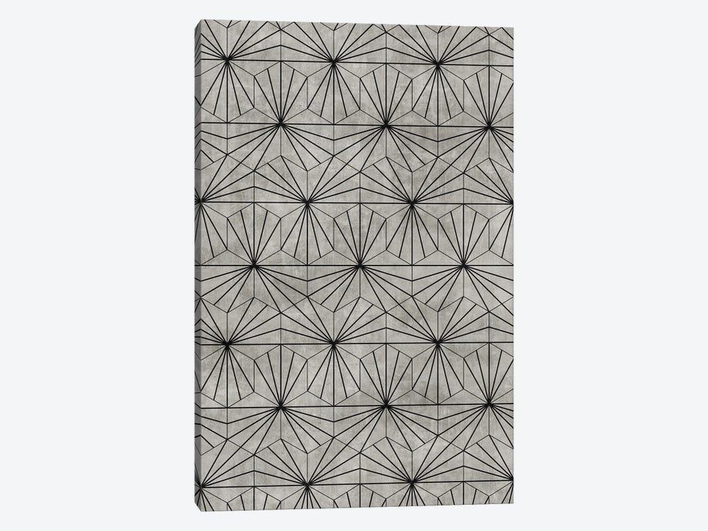 Hexagonal Pattern - Grey Concrete by Zoltan Ratko 1-piece Canvas Art Print