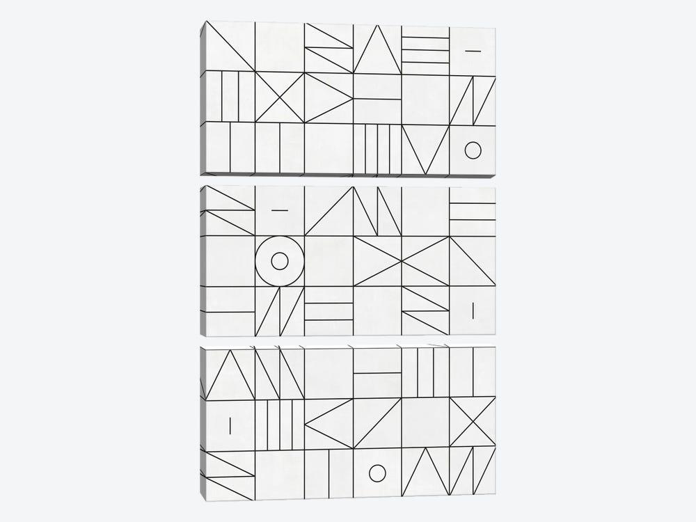My Favorite Geometric Patterns No.1 - White by Zoltan Ratko 3-piece Canvas Art Print
