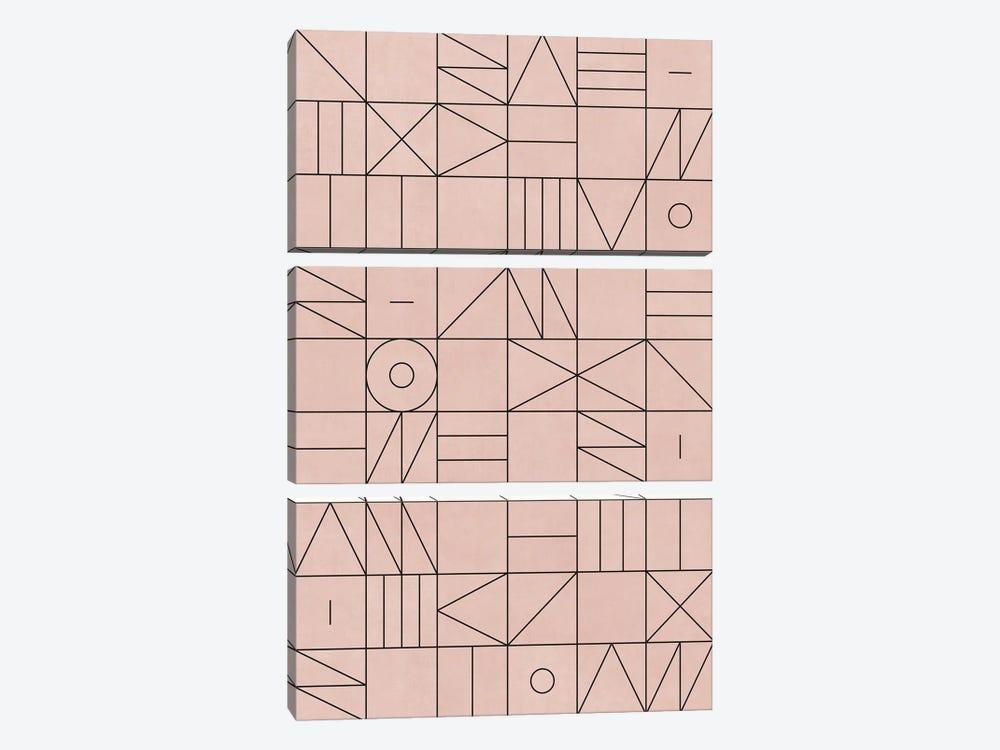 My Favorite Geometric Patterns No.2 - Pale Pink by Zoltan Ratko 3-piece Canvas Artwork