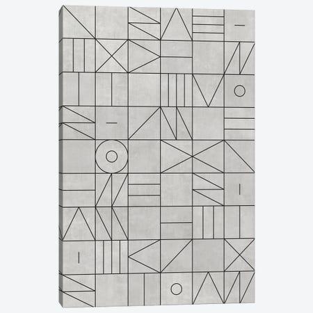 My Favorite Geometric Patterns No.3 - Grey Canvas Print #ZRA99} by Zoltan Ratko Canvas Wall Art