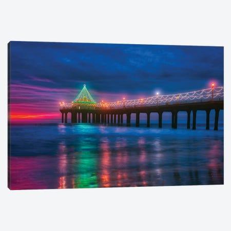 Christmas At Manhattan Beach Pier, California Canvas Print #ZSC104} by Zoe Schumacher Canvas Artwork