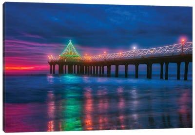 Christmas At Manhattan Beach Pier, California Canvas Art Print