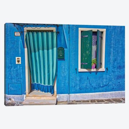 Burano Blue Front Door Canvas Print #ZSC12} by Zoe Schumacher Canvas Print