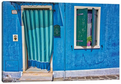 Burano Blue Front Door Canvas Art Print