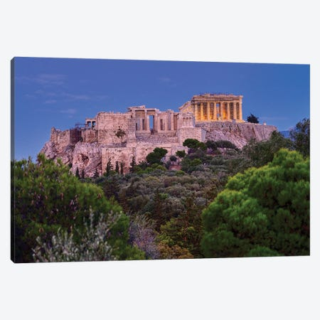 Blue Hour Of Acropolis Of Athens Canvas Print #ZSC1} by Zoe Schumacher Canvas Wall Art