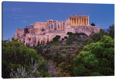 Blue Hour Of Acropolis Of Athens Canvas Art Print