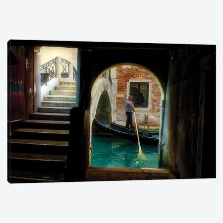 Gondolier Navigates Through A Venice Canal Canvas Print #ZSC27} by Zoe Schumacher Art Print