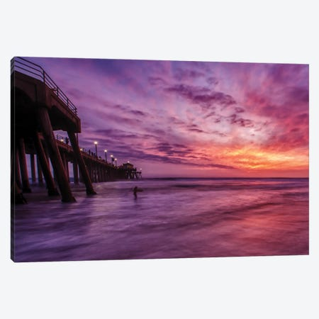 Huntington Beach Pier - Red Sky Delight Canvas Print #ZSC30} by Zoe Schumacher Canvas Art Print