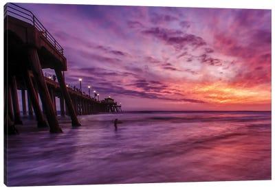 Huntington Beach Pier - Red Sky Delight Canvas Art Print
