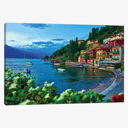 Town Of Varenna On Lake Como Canvas Print #ZSC32} by Zoe Schumacher Art Print