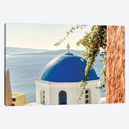 Santorini Blue Dome Of Oia Canvas Print #ZSC33} by Zoe Schumacher Art Print