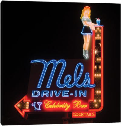 Mel's Drive-In Neon Sign Canvas Art Print