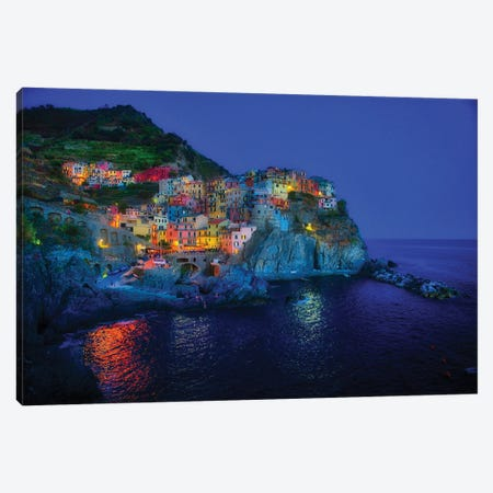 Manarola Of Cinque Terre At Blue Hour Canvas Print #ZSC44} by Zoe Schumacher Canvas Print