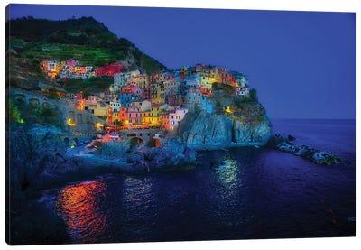 Manarola Of Cinque Terre At Blue Hour Canvas Art Print