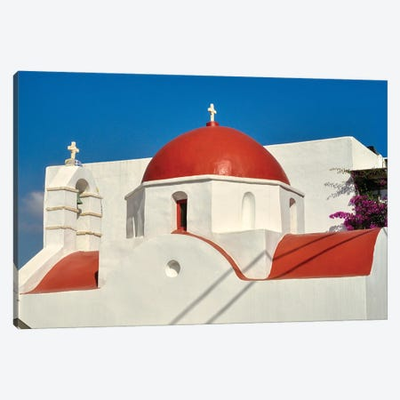 Red Dome And Bell Tower Of Greek Orthodox Church On Mykonos Canvas Print #ZSC53} by Zoe Schumacher Canvas Print