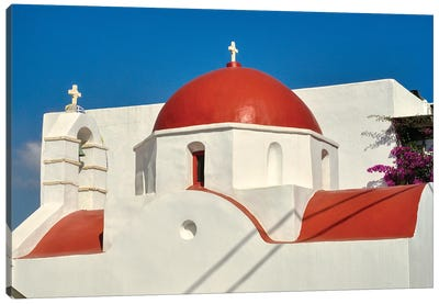 Red Dome And Bell Tower Of Greek Orthodox Church On Mykonos Canvas Art Print