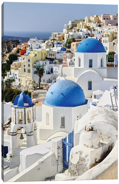 Blue Domes Of Santorini Canvas Art Print