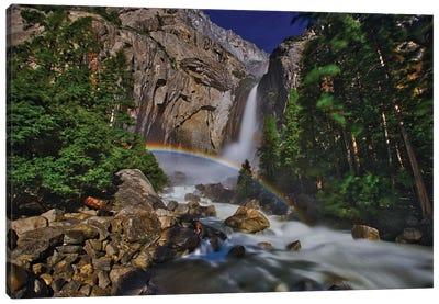 Moonbow At Lower Yosemite Falls Canvas Art Print