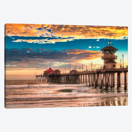 Huntington Beach Pier - Last Set. Canvas Print #ZSC77} by Zoe Schumacher Canvas Art