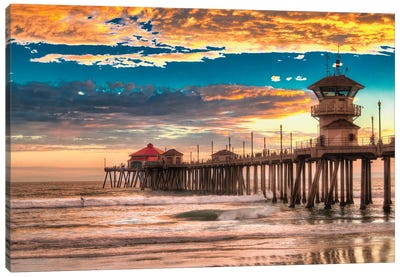 Huntington Beach Pier - Last Set. Canvas Art Print