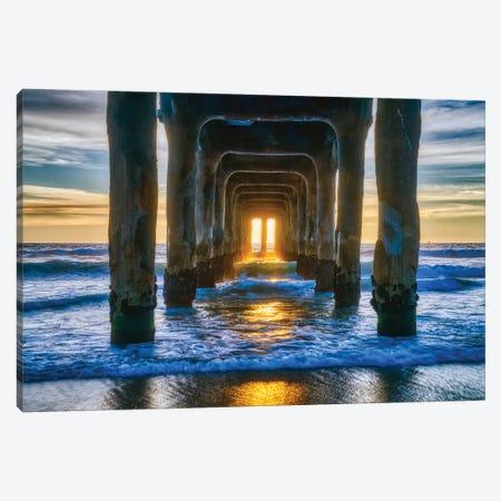 Manhattan Beach Pier At Sunset Canvas Print #ZSC86} by Zoe Schumacher Canvas Art Print