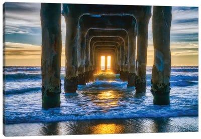 Manhattan Beach Pier At Sunset Canvas Art Print