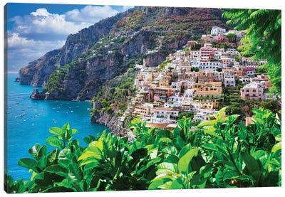 Coastline Of Positano, Italy Canvas Art Print