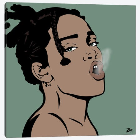 Riri Smokes Canvas Print #ZZD13} by Zozi Designs Canvas Artwork