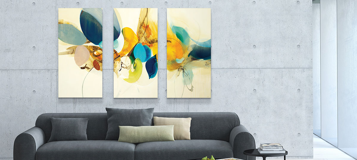60 x 40//0.75 Depth iCanvasART 3 Piece Tango Neutral Canvas Print by Mike Schick