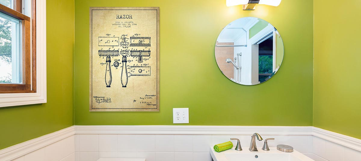Bathroom Blueprints Canvas Artwork