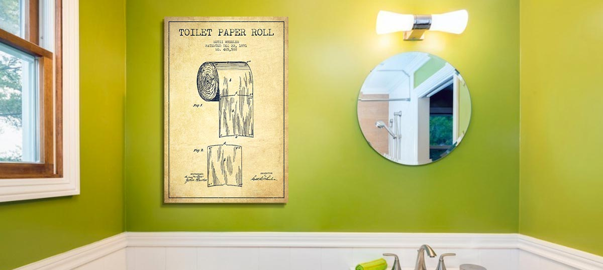 Toilet paper vintage patent blueprint canvas art aged pixel bachelor pad bathroom blueprints canvas wall art malvernweather