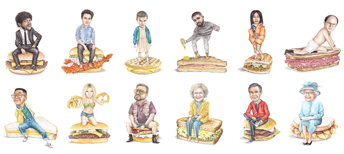 Celebs on Sandwiches Canvas Wall Art