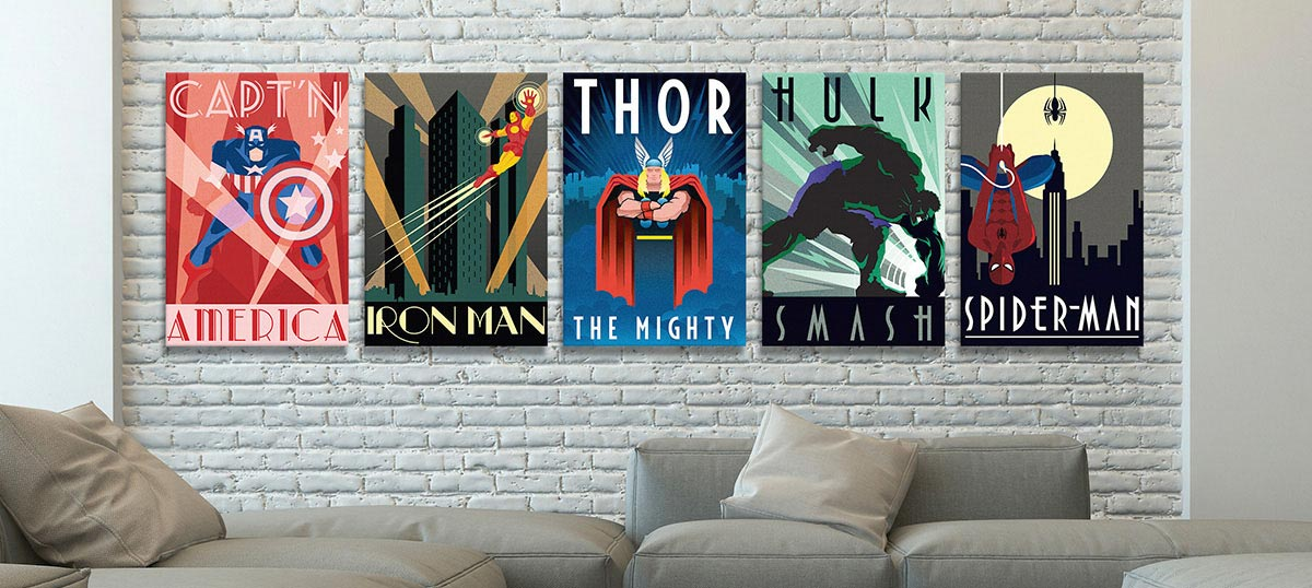 charming Comic Book Wall Art Part - 1: Comic Book Heroes - Canvas Prints