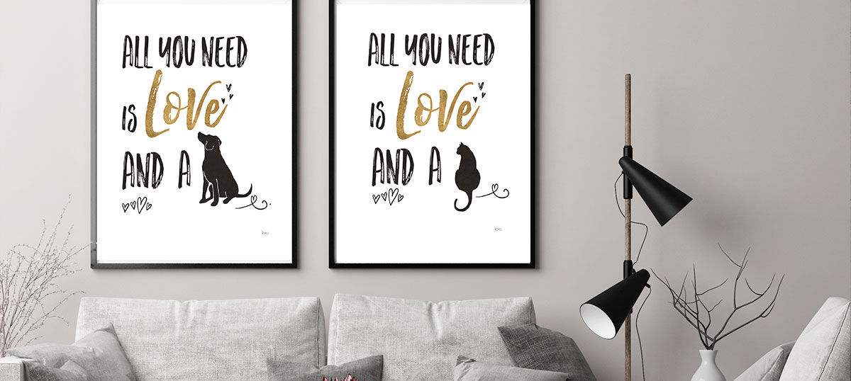 Dog and Cat Mom Canvas Art Prints