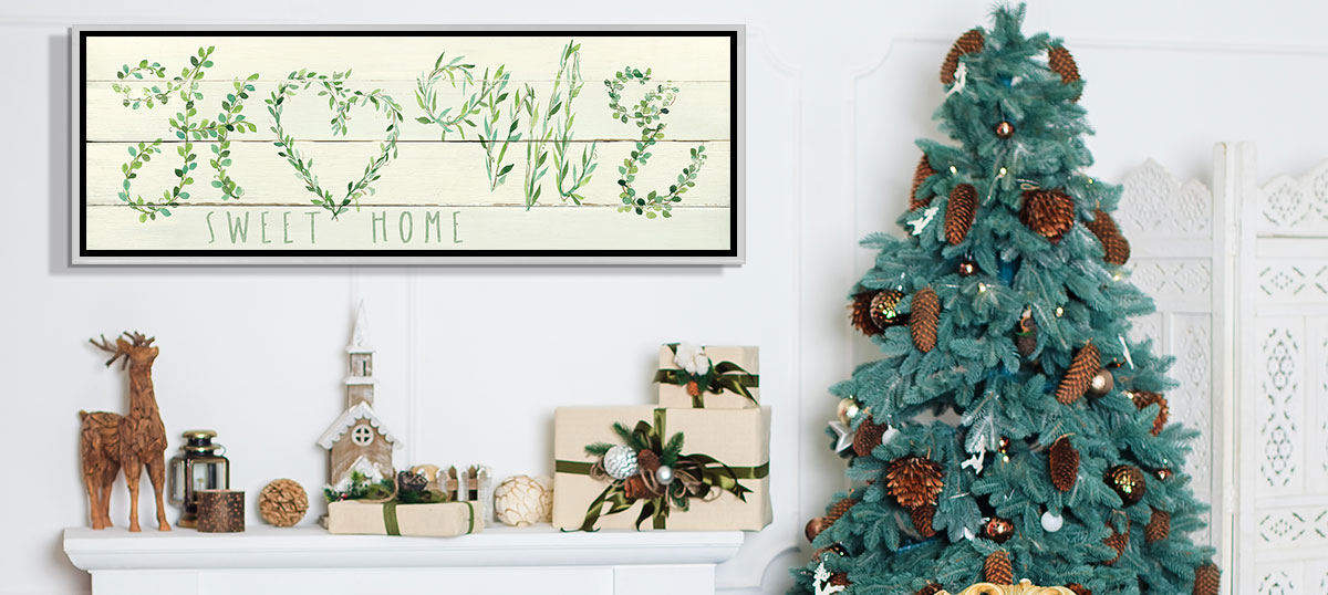 Evergreen & Burlap Canvas Artwork