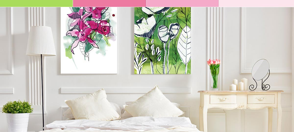 Green Meets Pink Canvas Wall Art