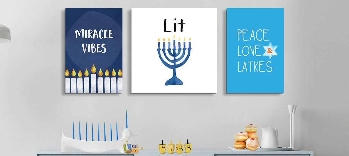 Hanukkah Wall Art Canvas Peace and Joy Jewish Home Decor Prints