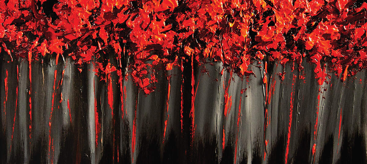 Red Abstract Canvas Artwork